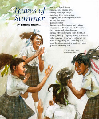 Watercolor paintings for Leaves of Summer for Cricket children's magazine