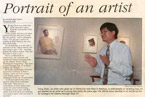 Portrait of an artist, Yong Chen in a college gallery speaks about art.