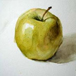 Free watercolor Painting lesson and demonstration of a green apple
