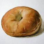 Free Watercolor still life Painting step by step lesson of a bagel