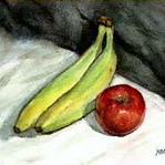 Free step by step watercolor lesson: Painting Banana and Red Apple Watercolor Demonstration