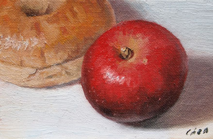 original oil painting of Red Apple and Bagel by Yong Chen