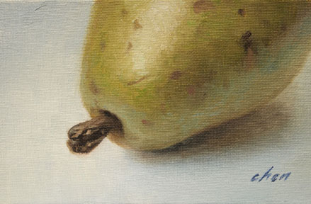 original oil painting of A Pear by Yong Chen